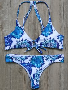 String Printed Strappy Bikini Set
