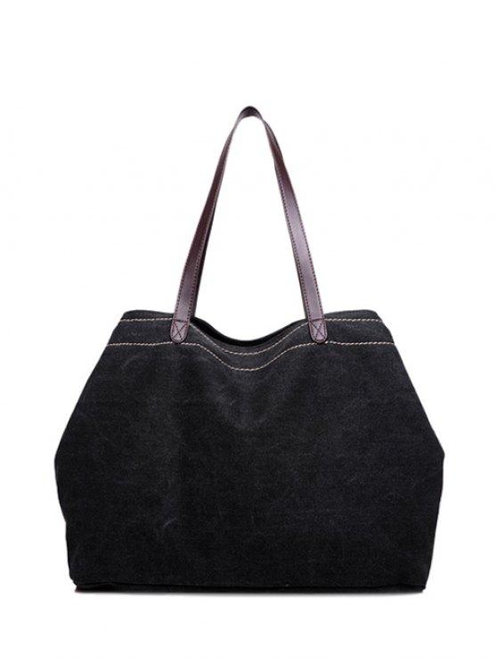 Canvas Stitching Shoulder Bag - BLACK  Mobile