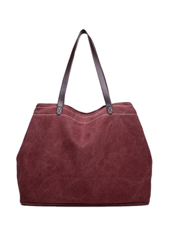 Canvas Stitching Shoulder Bag - PURPLISH RED  Mobile