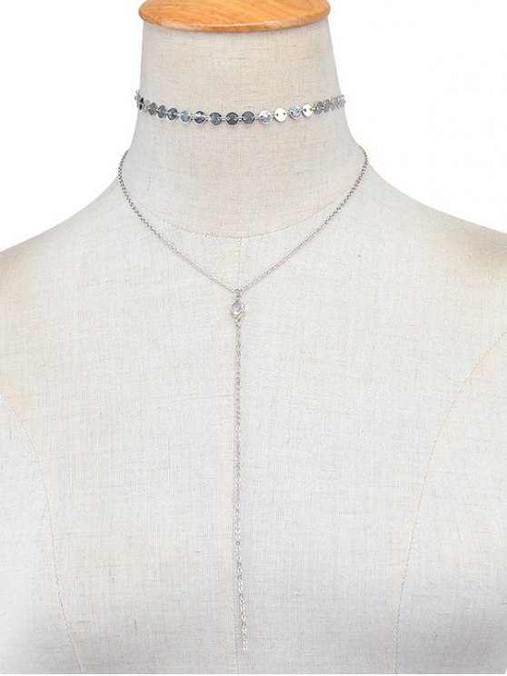 Sequins Vintage Layered Necklace - SILVER  Mobile