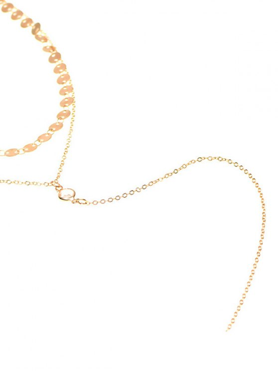 Sequins Vintage Layered Necklace - GOLDEN  Mobile
