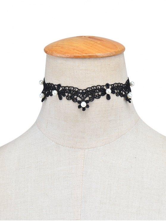 Lace Artificial Pearl Choker Necklace - BLACK  Mobile