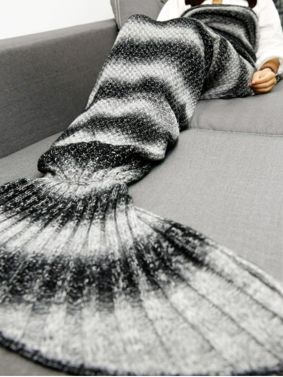 Striped Chunky Crochet Knit Mermaid Blanket -   Mobile