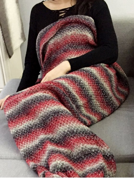 Striped Chunky Crochet Knit Mermaid Blanket -   Mobile