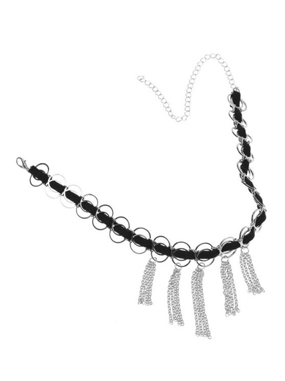 Faux Leather Circle Fringed Choker Necklace -   Mobile