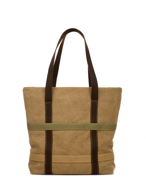 Straps Canvas Shoulder Bag - KHAKI  Mobile