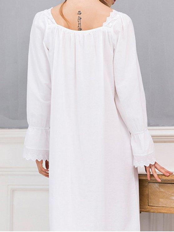 Square Collar Flounced Sleep Dress - WHITE M Mobile