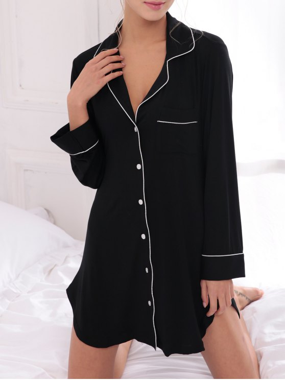 Cotton Sleep Shirt Dress With Pocket - BLACK S Mobile