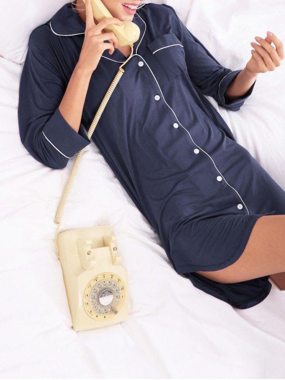 Cotton Sleep Shirt Dress With Pocket - PURPLISH BLUE S Mobile