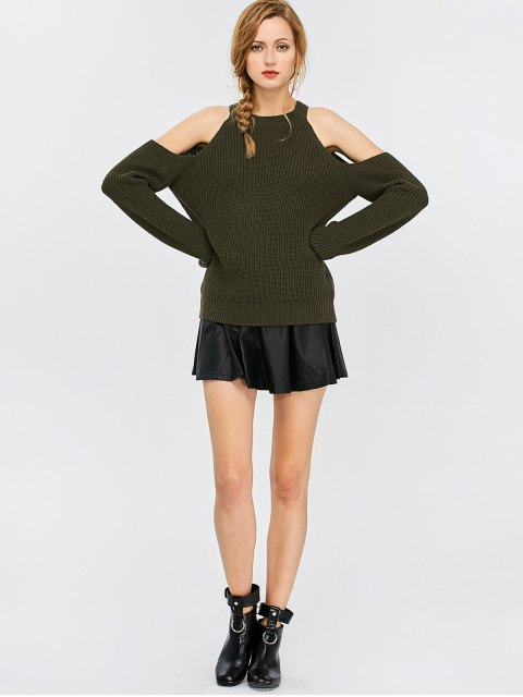 women's Cold Shoulder Crew Neck Ribbed Sweater - ARMY GREEN M Mobile