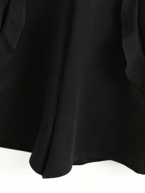 shop Frilled V Back Long Sleeve Romper - BLACK L Mobile