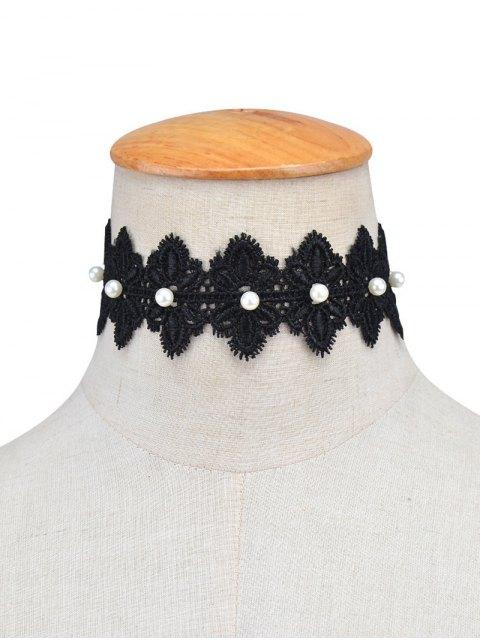 ladies Faux Pearl Lace Flower Choker Necklace - BLACK  Mobile