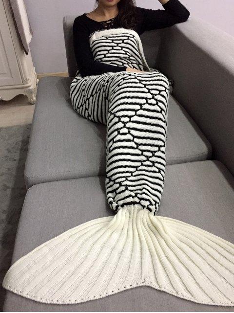 shops Bedroom Crochet Knit Mermaid Blanket Throw - MILK WHITE  Mobile