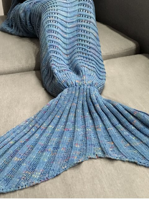 latest Hollow Out Crochet Knit Mermaid Blanket Throw - LIGHT BLUE  Mobile