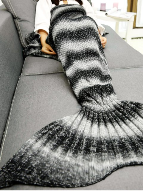 fashion Striped Chunky Crochet Knit Mermaid Blanket -   Mobile