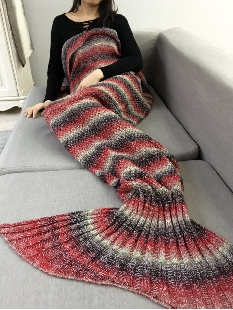 chic Striped Chunky Crochet Knit Mermaid Blanket -   Mobile
