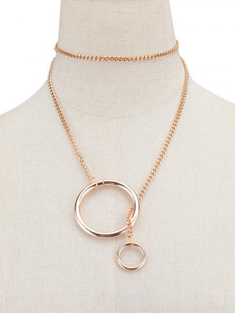 ladies Circle Vintage Chain Necklace - GOLDEN  Mobile