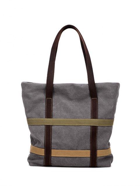 shop Straps Canvas Shoulder Bag - GRAY  Mobile