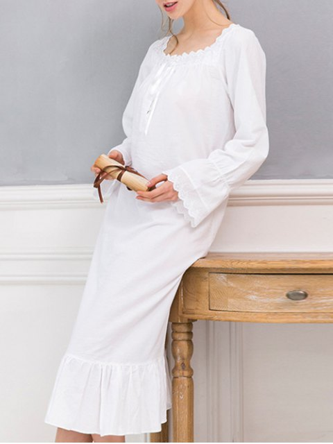 shop Square Collar Flounced Sleep Dress - WHITE XS Mobile