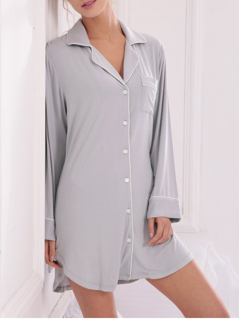 chic Cotton Sleep Shirt Dress With Pocket - GRAY M Mobile