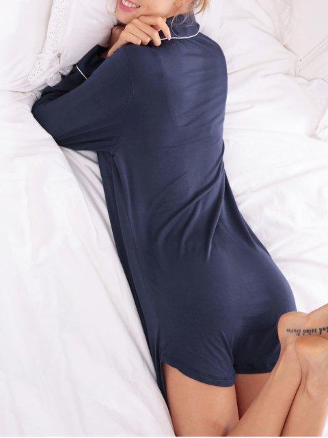 women Cotton Sleep Shirt Dress With Pocket - PURPLISH BLUE S Mobile