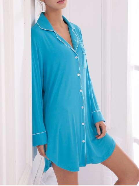 hot Cotton Sleep Shirt Dress With Pocket - BLUE XS Mobile