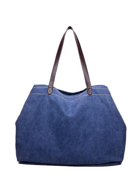 unique Canvas Stitching Shoulder Bag - BLUE  Mobile
