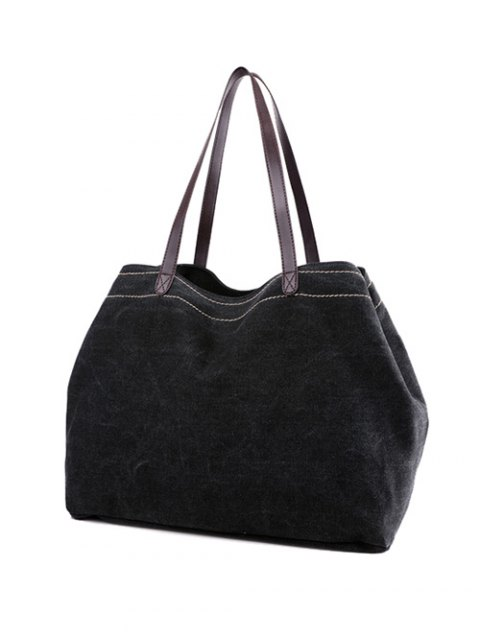 affordable Canvas Stitching Shoulder Bag - BLACK  Mobile