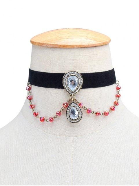 latest Artificial Gem Teardrop Velvet Choker Necklace - BLACK  Mobile