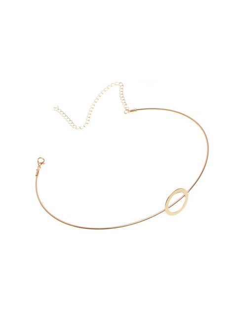 trendy Adorn Alloy Circle Necklace - GOLDEN  Mobile