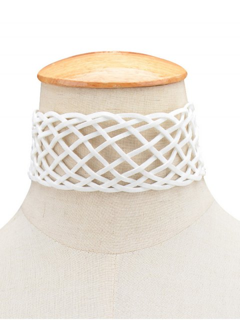 sale PU Leather Braid Choker Necklace - WHITE  Mobile