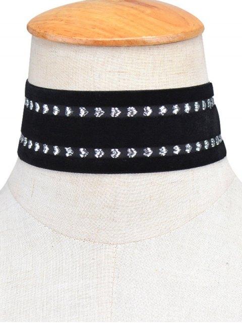 women's Heart Vintage Velvet Choker Necklace - BLACK  Mobile