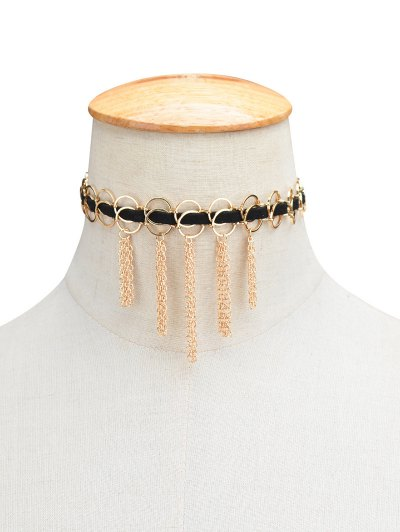 Faux Leather Circle Fringed Choker Necklace - GOLDEN  Mobile