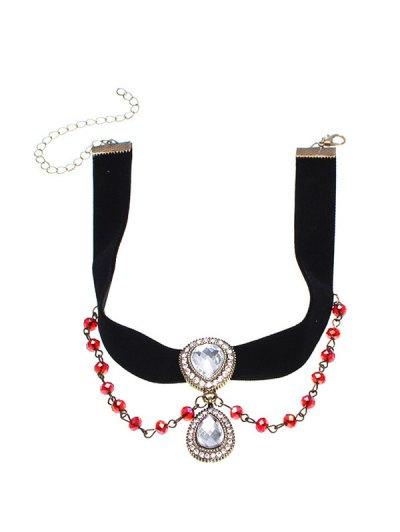 Artificial Gem Teardrop Velvet Choker Necklace - BLACK  Mobile