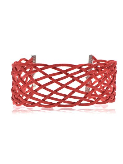 PU Leather Braid Choker Necklace - RED  Mobile