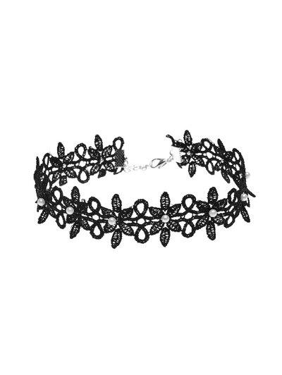 Lace Floral Faux Pearl Choker Necklace - BLACK  Mobile