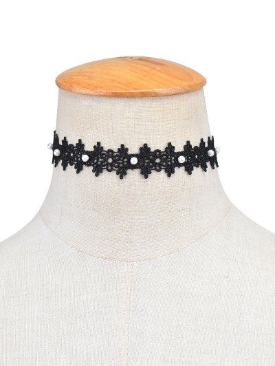 Lace Artificial Pearl Floral Choker Necklace - BLACK  Mobile