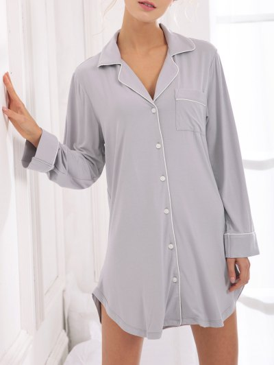 Cotton Sleep Shirt Dress With Pocket - GRAY S Mobile