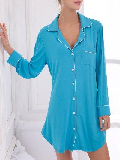 Cotton Sleep Shirt Dress With Pocket - BLUE S Mobile