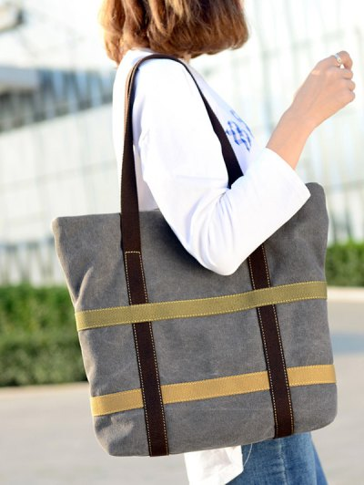 Straps Canvas Shoulder Bag - GRAY  Mobile