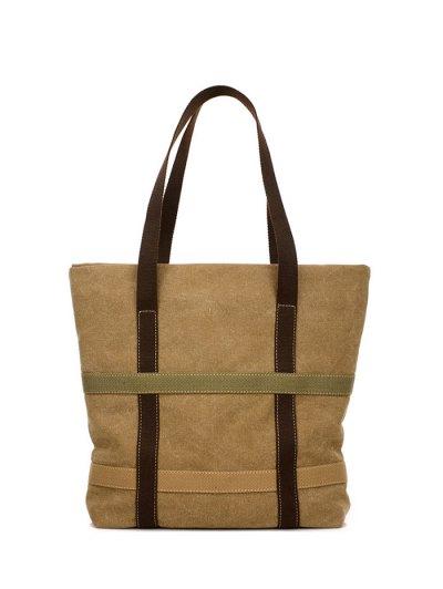 Straps Canvas Shoulder Bag - KHAKI  Mobile