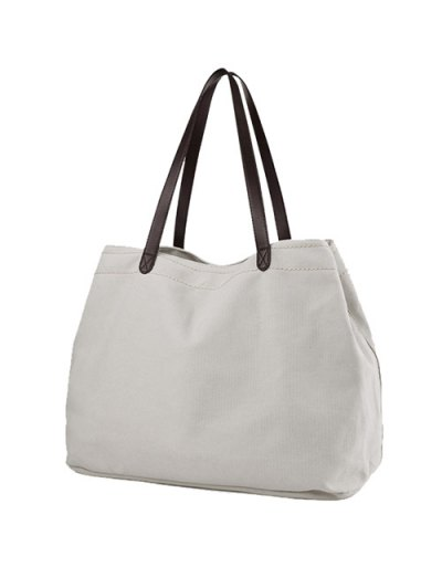 Canvas Stitching Shoulder Bag - OFF-WHITE  Mobile