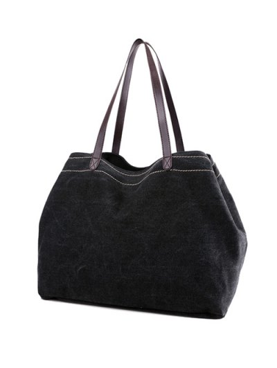 Canvas Stitching Shoulder Bag - BLACK  Mobile