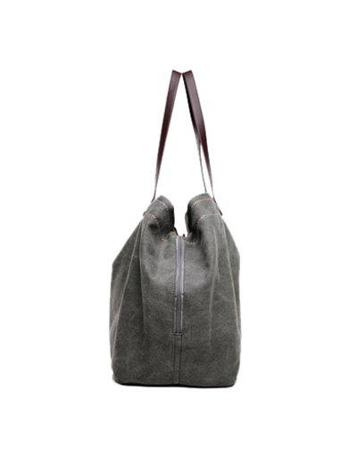 Canvas Stitching Shoulder Bag - GRAY  Mobile
