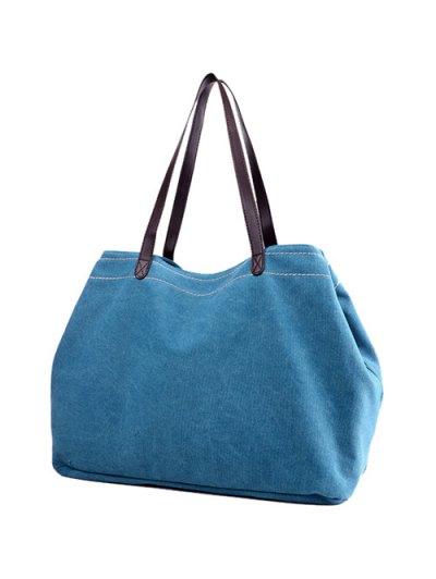 Canvas Stitching Shoulder Bag - LAKE BLUE  Mobile