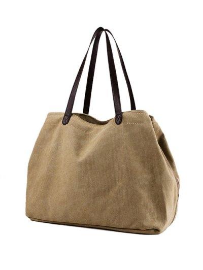 Canvas Stitching Shoulder Bag - KHAKI  Mobile