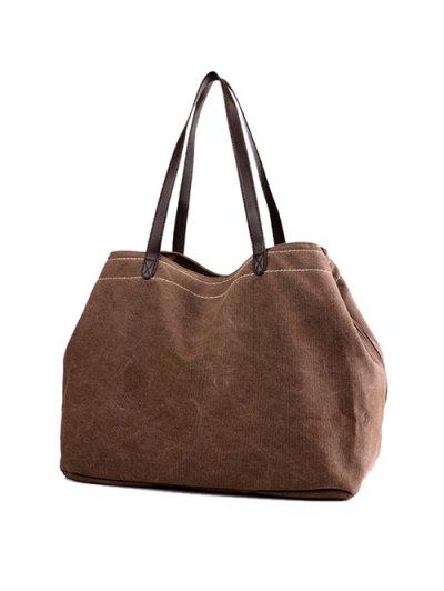 Canvas Stitching Shoulder Bag - BROWN  Mobile