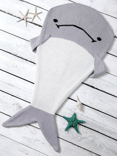 Knitted Dolphin Shape Blanket Throw For Baby - LIGHT GRAY  Mobile