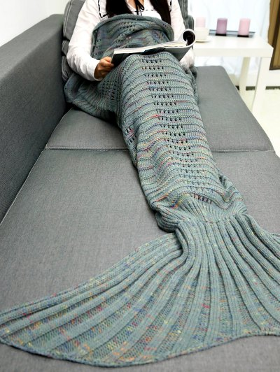 Hollow Out Crochet Knit Mermaid Blanket Throw - LIGHT GREEN  Mobile