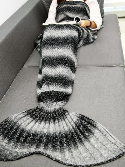 Striped Chunky Crochet Knit Mermaid Blanket - BLACK  Mobile